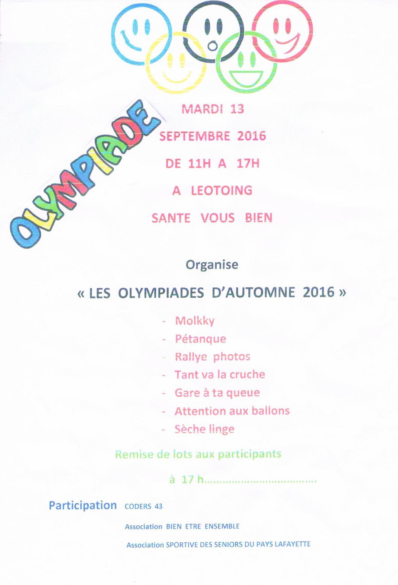 Olympiades de septembre 2016